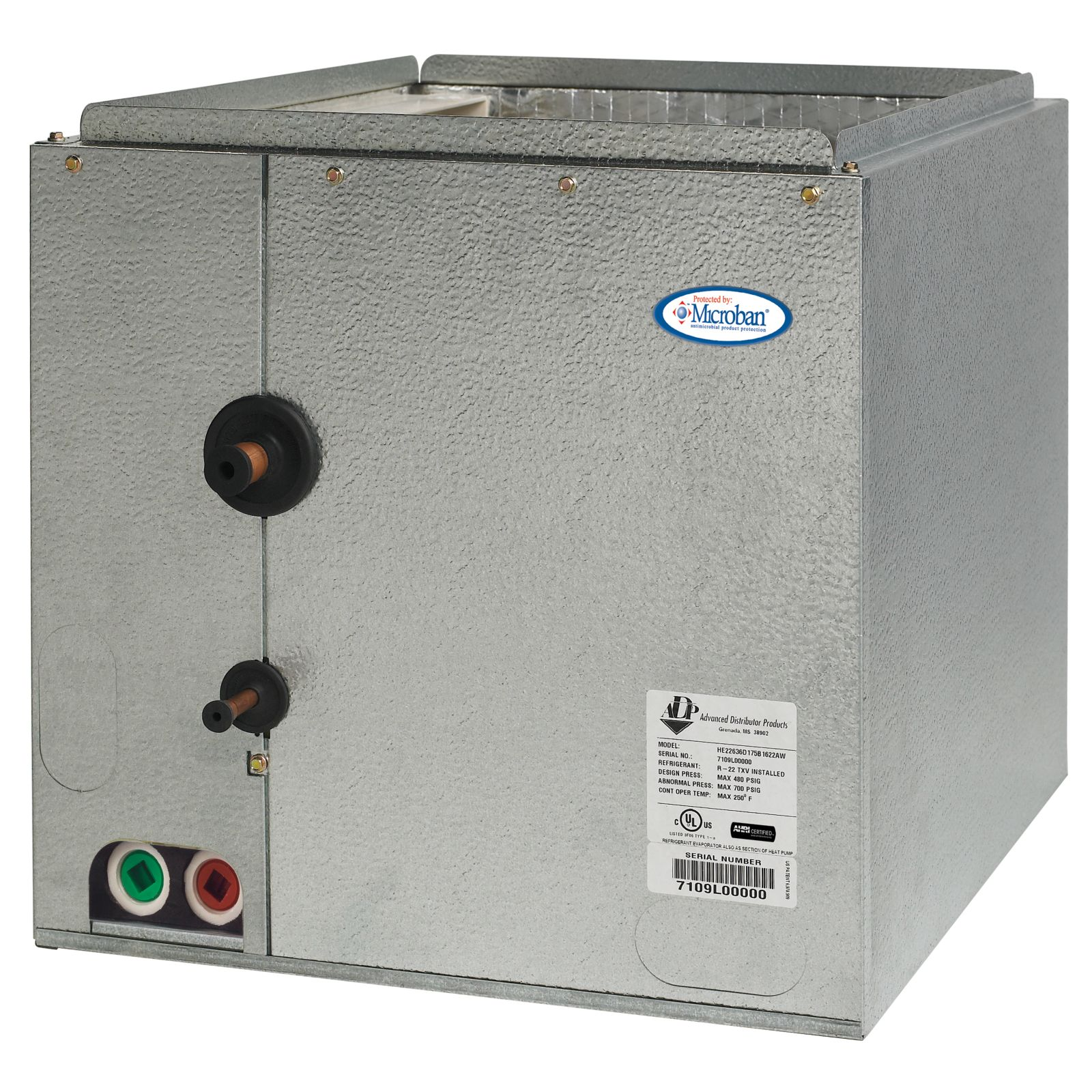 ADP HE49660C210B2722AP - 5 Ton, HE Series Cased Evaporator Coil, Multi-Position, Non-bleed A/C TXV (R-410A)